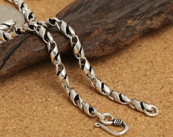 "Sterling Silver Spiral Chain, 925 Silver Twist Chain Necklace, Sterling Silver Spiral 4mm 18"" 20"" 22"" 24"" Inches - LA701"
