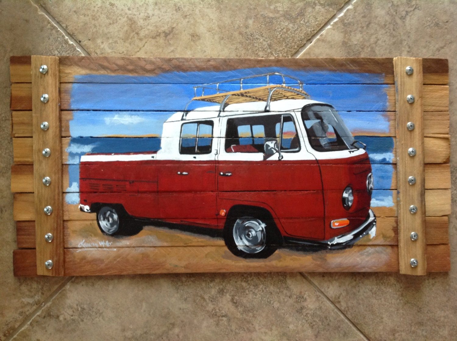 Man Cave Car Art : Man cave garage shop art decor car painting pallet frame