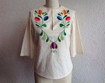 1960s Mexican embroidered shirt