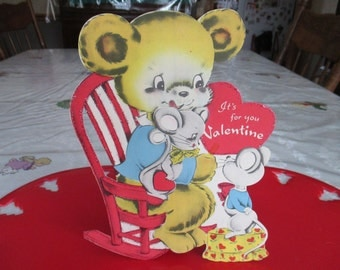 Vintage Children's Valentine Card Bear with Mouse, easel, 1940's, glitter