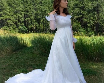 Vintage Late 60s early 70s Wedding Dress // sheer dotted point d'esprit hippie / gypsy vintage wedding dress // 1960s 1970s wedding dress