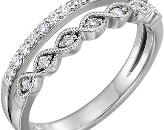 14k White Gold 1/4 CTW Genuine Diamond Double Stack Anniversary Band, Romantic Anniversay Band Ring, US Size 7