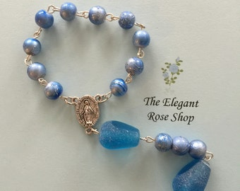Elegant One Decade Rosary with Blue Water-like Beads