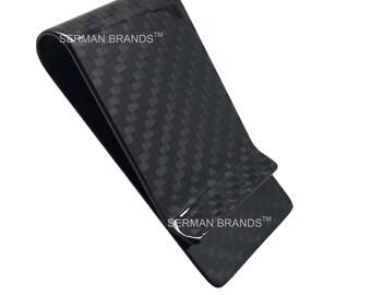 Carbon Fiber Money Clip - 3K Weave - Front Pocket Minimalist Strong and Lightweight Wallet Black Glossy