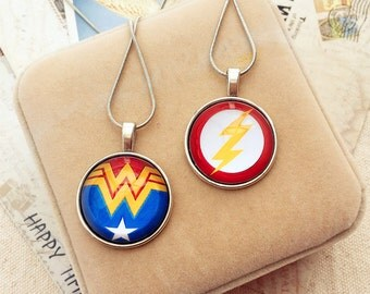The flash necklace, Wonder Woman necklace, Aquaman necklace, superhero necklcae, Justice League necklace, batman ,green lantern, superman