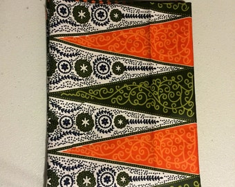 Green and orange african head wrap - orange and green African print hair wrap - orange hair wrap