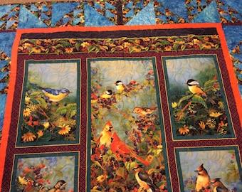 Bird lap quilt, American birds wall hanging, fall leaves, machine quilted, cardinals, chickadees, cedar waxwings, robins, bluebirds