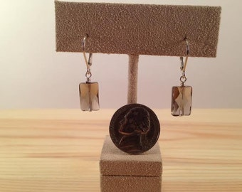 Faceted Smoky Quartz Lozenge Earrings