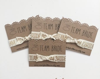 Team Bride Hair Ties Favor, Bride Hair Ties, Bridal Shower Gift, Wedding Party Gift, Bridal Party Gift Bridal Party Hairties Bridesmaid Gift
