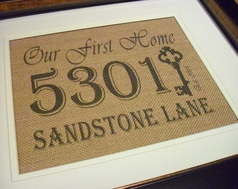 Our First Home Gift, Framed Address Plaque, Burlap Housewarming, Burlap Address Sign, Personalized Address Sign, First Home Sign