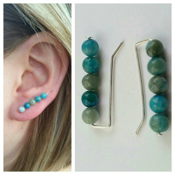 turquoise bobby pin earrings pair beaded ear by