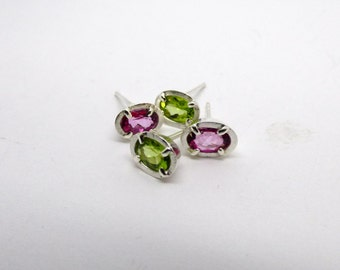 Peridot, pink topaz, Studs, sweet, small, flashy, birthday, confirmation, party, everyday, faceted, green