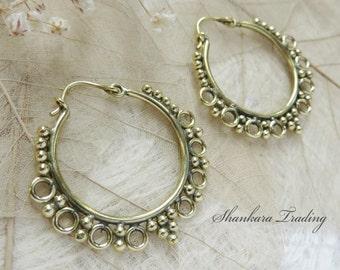 Brass Hoop Earrings, Tribal Brass Earrings, Gypsy Hoop Earrings, Ethnic Earrings, Boho Brass Jewelry, Shankara Trading Earrings