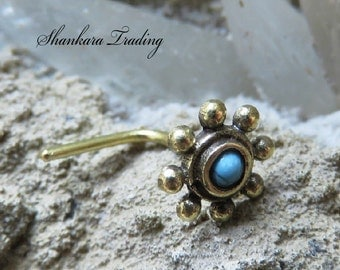 Tribal Brass Nose Stud, Turquoise Nose Stud, Indian Nose Pin, Ethnic Nose Stud, Nose Jewelry, Nostril Stud, Tribal Brass Nose Ring