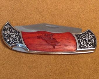 Laser Engraved Bull Ride Rosewood Pocket Knife