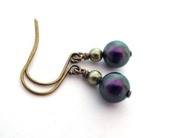 Purple green pearl earrings, antiqued gold brass, simple pearl earrings, earthy colors, Swarovski Elements pearls with brass, pearl jewelry