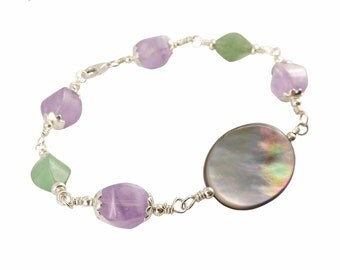 Bracelet Wire Wrapping Silver 925 Pearl, amethyst and Aventurine
