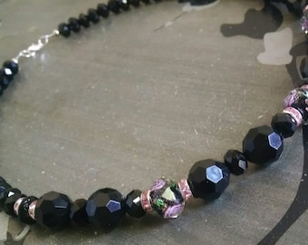 Black and Pink Bead Necklace