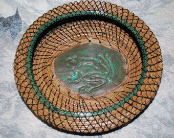 """Pine Needle Basket """"Froggy Goes a Courting"""""""