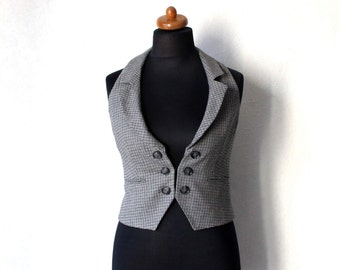Plaid Women's Vest Gray Black Waistcoat Checkered  Medium Size