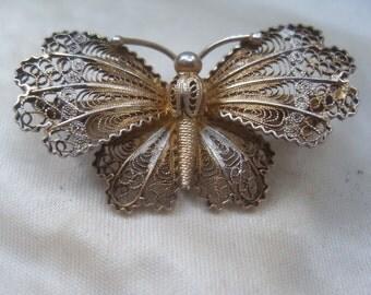 1920s Butterfly Pin Brooch 800 Silver