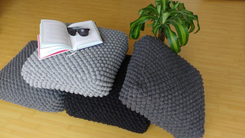 Crochet grey stuffed floor pillow / Meditation cushion / Wool