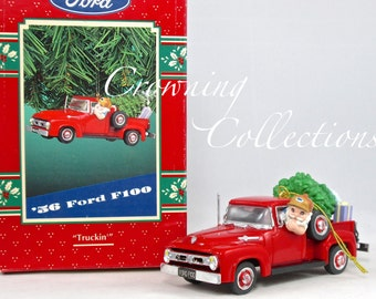 Enesco 1956 Ford F100 Truck Treasury of Christmas Ornament Truckin' Santa Driving F-100 Red Vintage