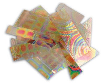 1/4 Lb DichroMagic Tie Dye Scrap on Clear-90 COE-Dichroic glass Supplies-Fused Glass Supplies-Jewelers Glass
