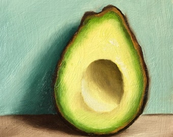 Avocado-the other half ,Original Oil Painting still life by Jane Palmer