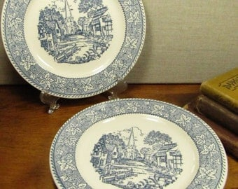 Blue and White Transferware Dessert Plates - Village Scene - Leaf and Berry Border - Creamy White Background - Set of Two (2)