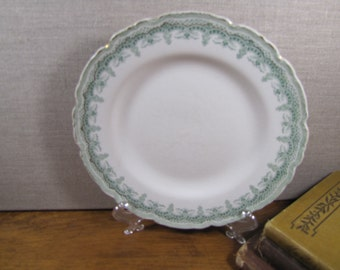 Vintage Johnson Brothers Plate - The St. Malo - Green and Gold Design - Scalloped Rim