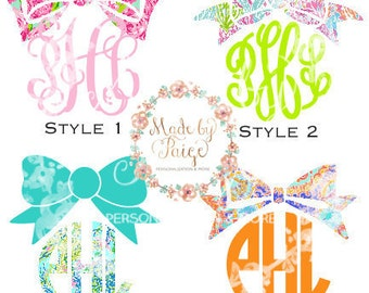 Lilly Pulitzer Inspired Bow Topper Monogram Decal
