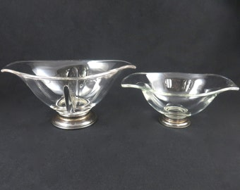 Vintage Web Sterling Glass Pedestal Dishes, Set of Two, Marked Sterling Silver Base, Heavy Glass, Curved Shape