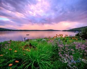 Lake Winnipesaukee Summers ~  Meredith, New Hampshire, Church Landing, Lake Photography, Sunset, Rainbow, Wall Decor, Joules, Artwork