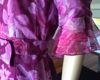 Kathleen Derry of Melbourne 60s Long Purple Downton Dress with Bow Belt  SW