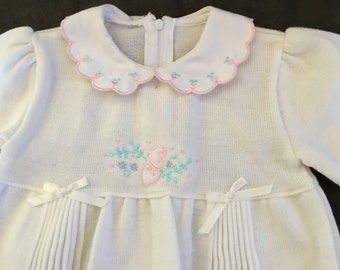 Vintage Baby Girl All In One Light Weight Knit Suit 60s As New