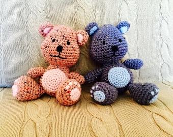 Cute Soft Aran Wool Teddy Bear in Blue, Pink or Brown
