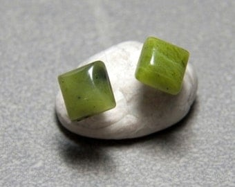 6mm or 10mm Square Green Jade and Sterling Silver Post Earrings