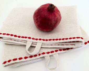 Tea towels from hemp fabric, set of 2 towel, with red embroidery