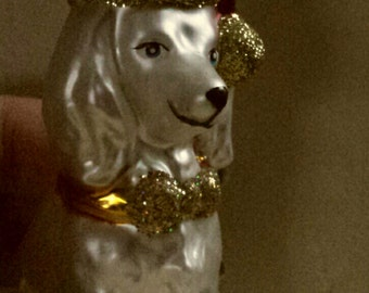 Blown Glass Santa Hat Poodle Dog Christmas Tree Ornament Decoration or Bauble