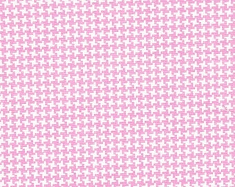Pink Small Houndstooth Check Fabric by Riley Blake