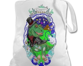 T-rex steam punk tote bag