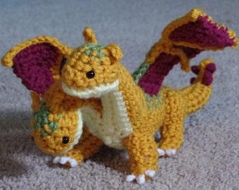 "Crochet 2-Headed Dragon Gold  Plush ""Garidon"""