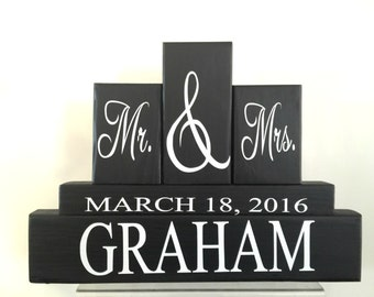 mr and mrs blocks - wedding centerpiece - bridal shower - anniversary gift - name blocks - wedding decor - wedding gift - mr and mrs