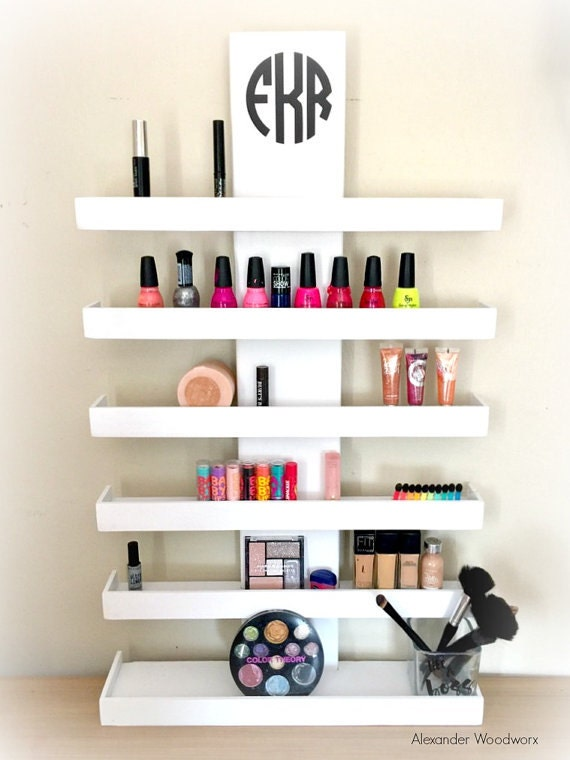Wall Mounted Makeup Shelf Makeup Organizer Nail Polish