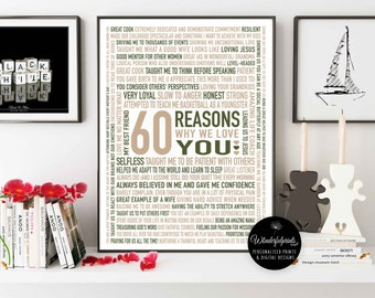 Custom 60th Birthday Gift For MOM / For Nana / 60 Reasons Why We Love You / Neutral Colours / Custom Word Art / 16x20 / DIGITAL Download /