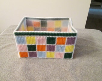 Storage Basket/Box in Plastic Canvas