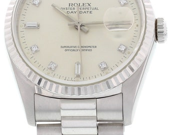 Men's Rolex Day Date President 18k White Gold Diamond Dial Watch 18239
