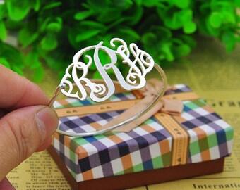 Silver Monogram bracelet, Monogram Name Bracelet, Thin Bangle Personalized 3 Initial Engraved Nameplate Jewelry, Christmas Gift, Monogrammed