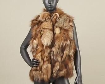 MRDline 6610013 Handmade crystal fox fur vest with a mao collar. Classical and elegant.